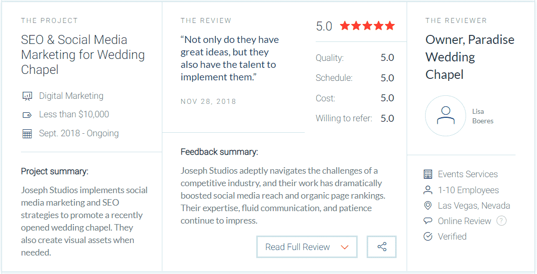 Reviews for Joseph Studios Marketing